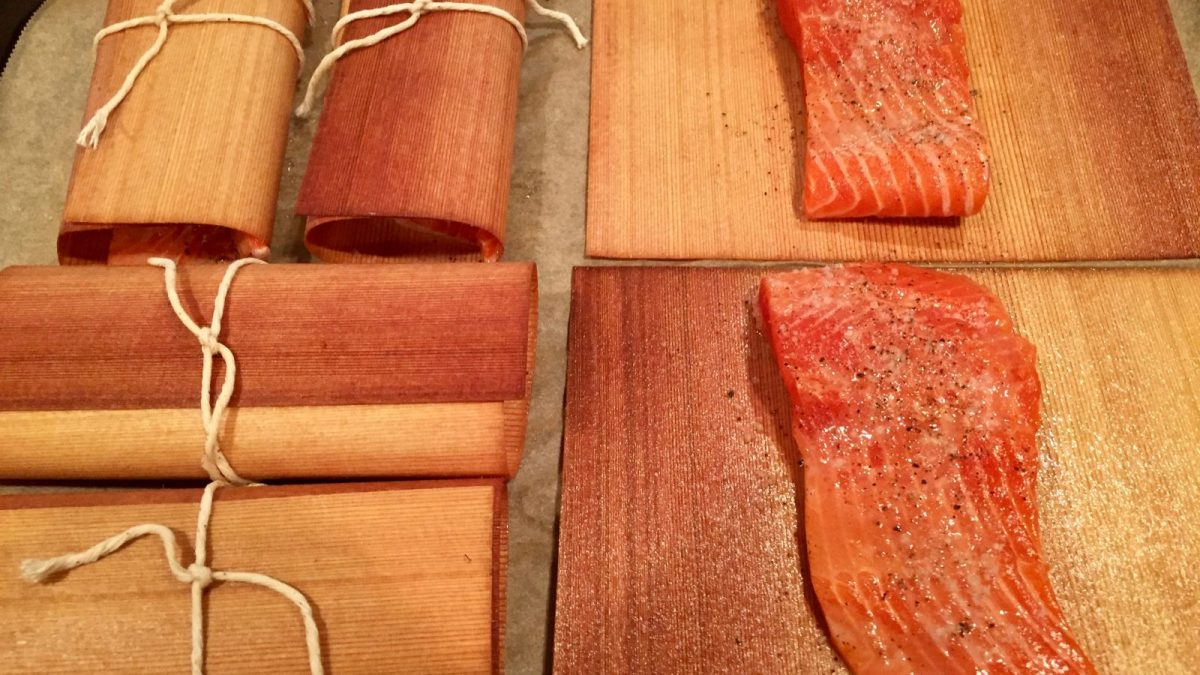 Cedar Paper Grilled Salmon with Pea Pesto and Herbs